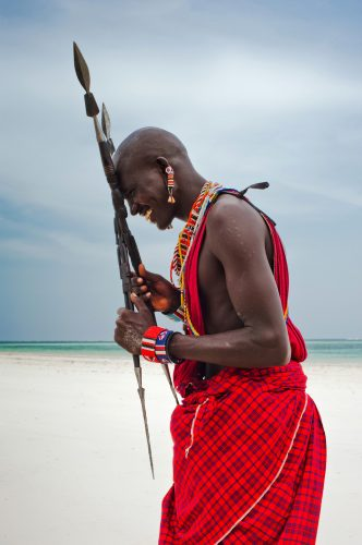 portrait of a Maasai warrior in Africa. Tribe, Diani beach, culture